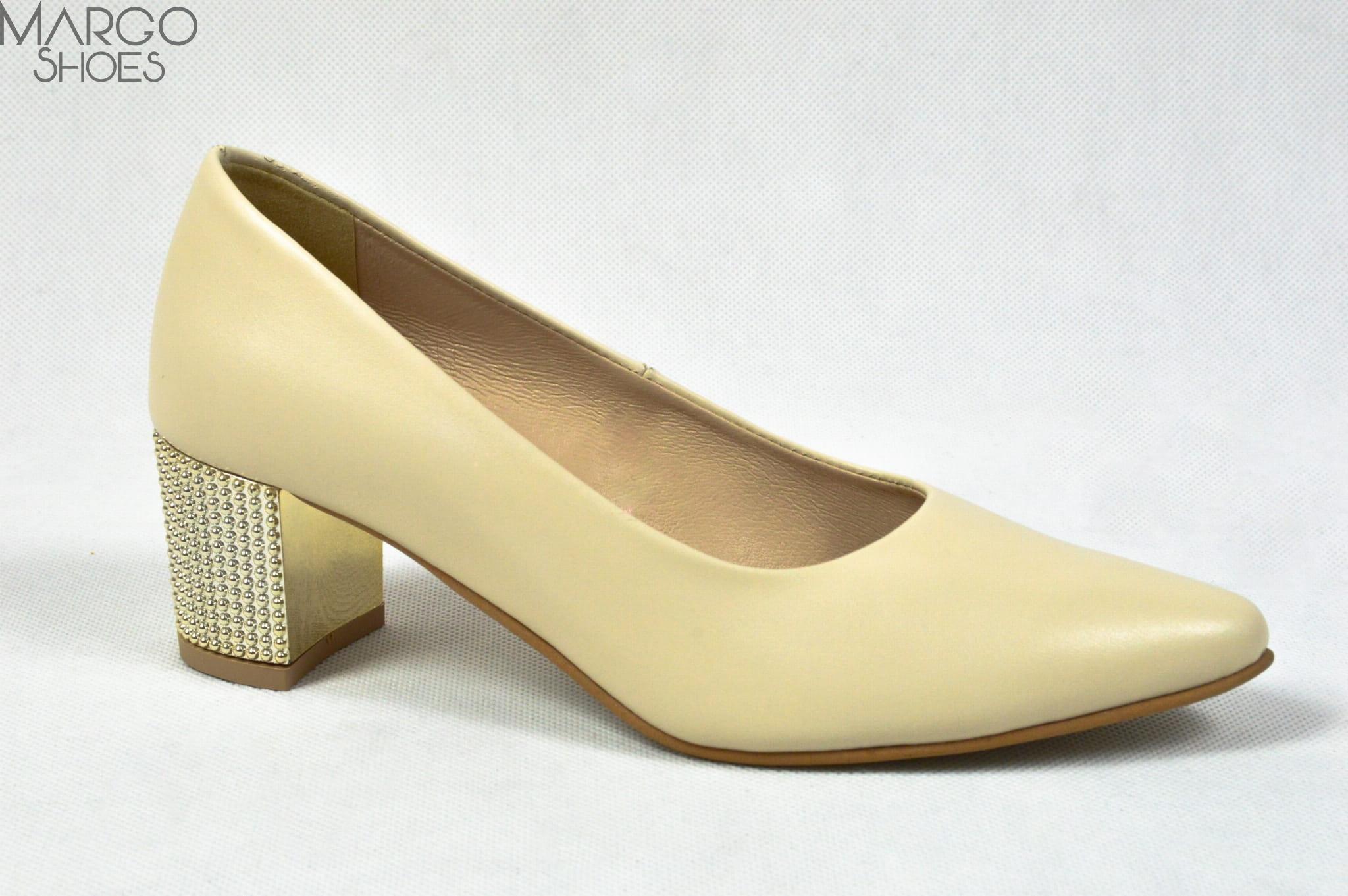 MargoShoes beżowe czółenka w szpic na niskiej szpilce z