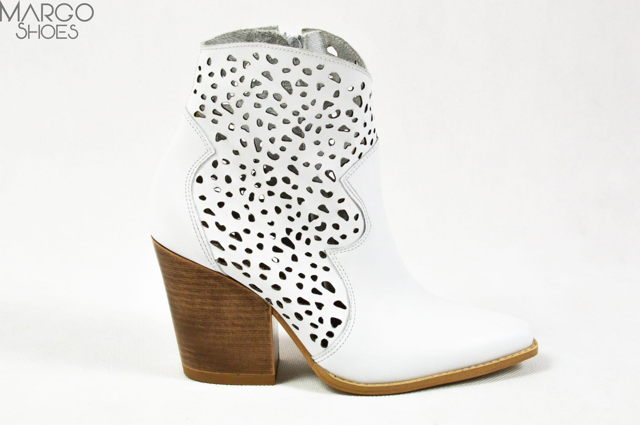 MargoShoes rude ażurowe kowbojki kowboje botki buty na obcasie ostry czubek skóra naturalna zamszowa skórzane kowbojki z perforacjami
