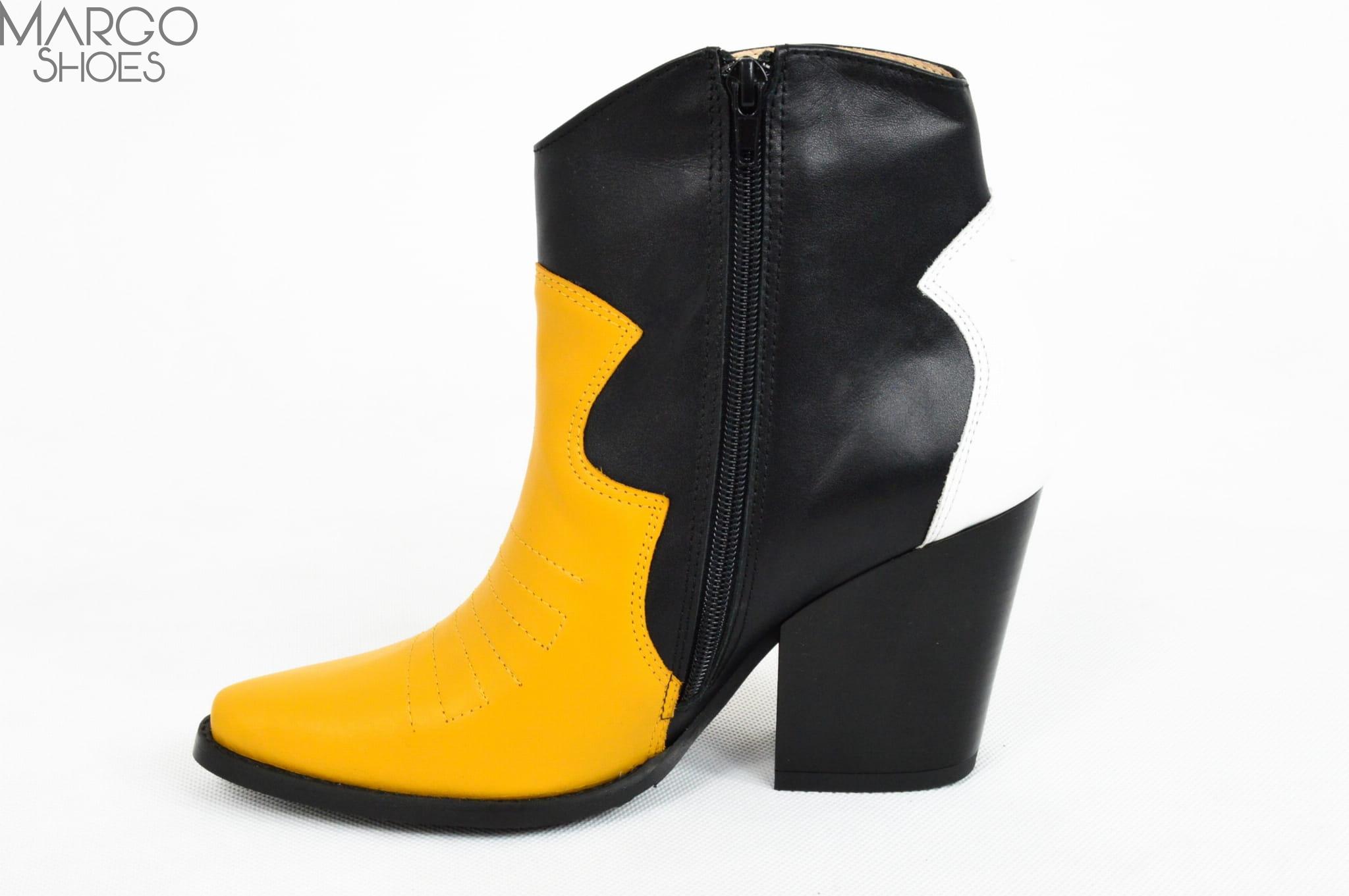 2eedfb7553452 MargoShoes skórzane botki kowbojki czarne biały żółte kolorowe ...
