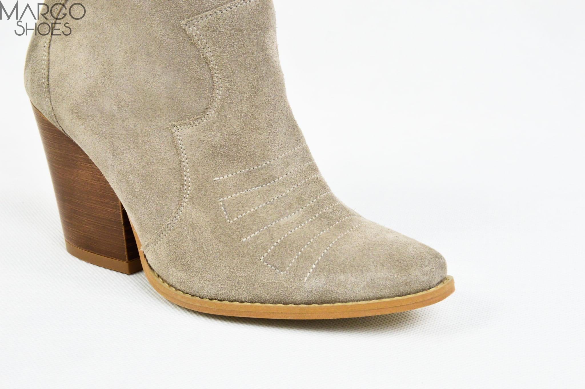 Botki kowbojki skórzane cappucino
