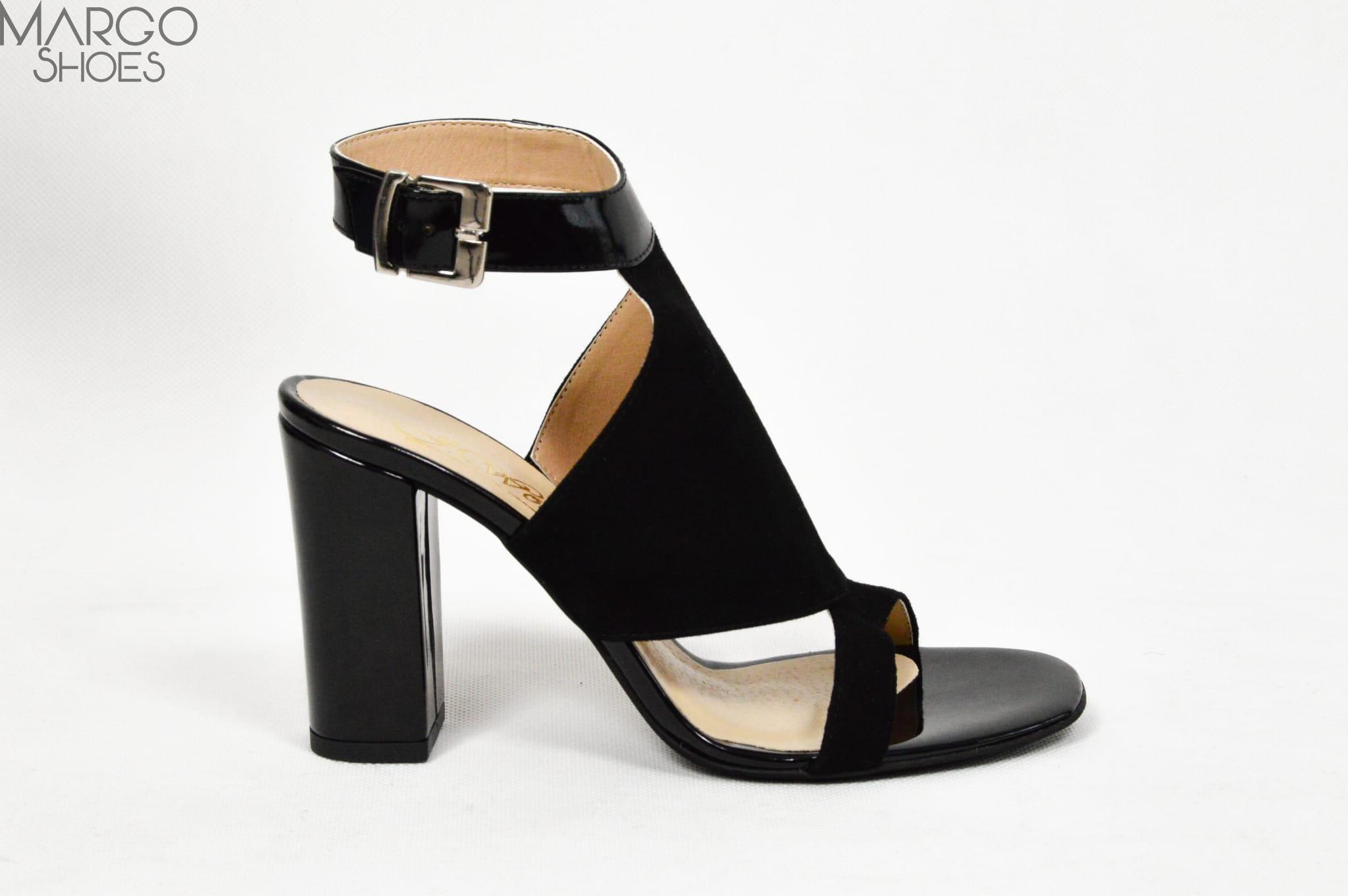 8c82844ab66bb4 MargoShoes czarne letnie sandałki na słupku skóra naturalna produkt ...