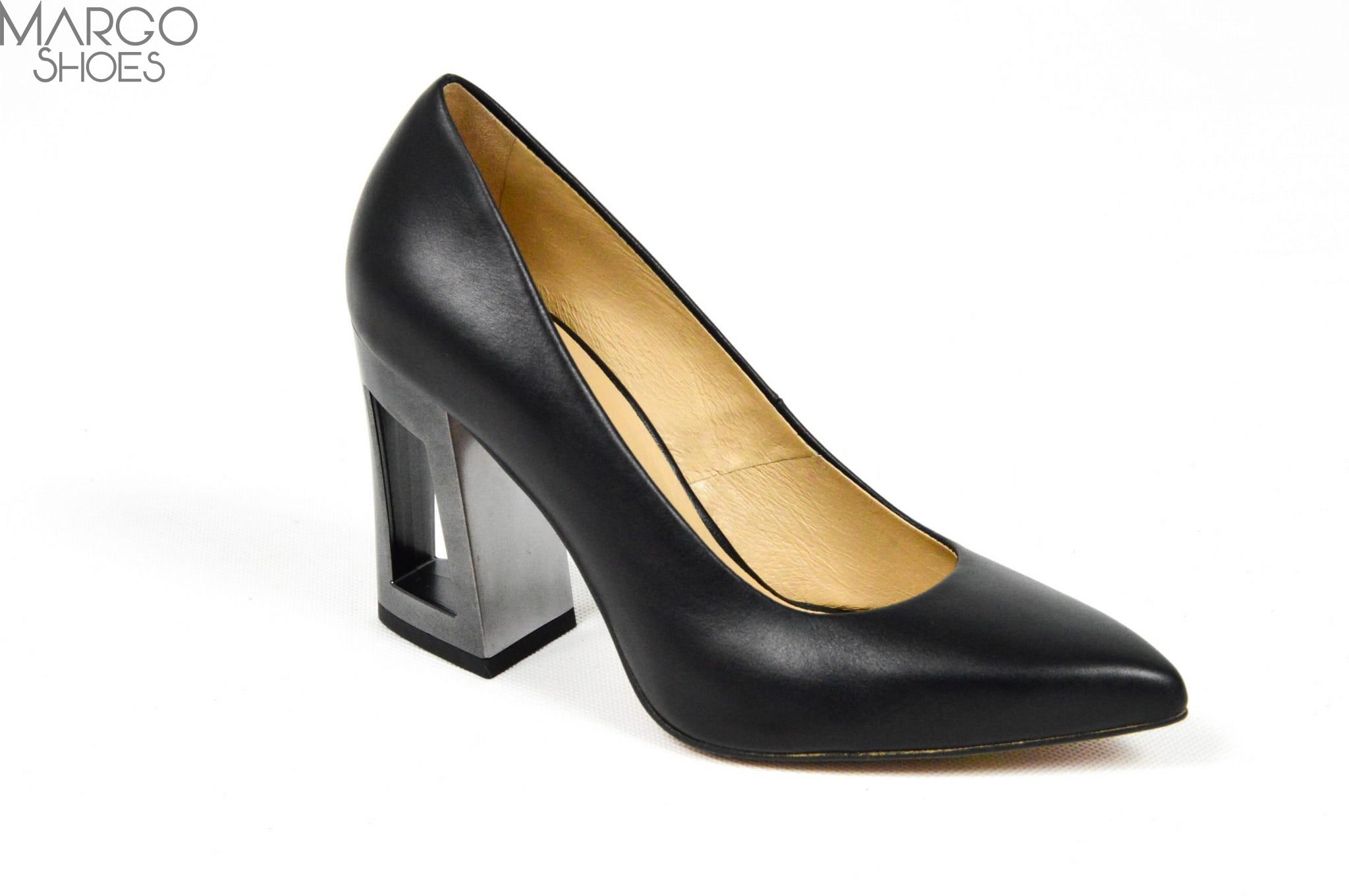 Buty męskie   Czarny Czarne czółenka ze skóry licowej z