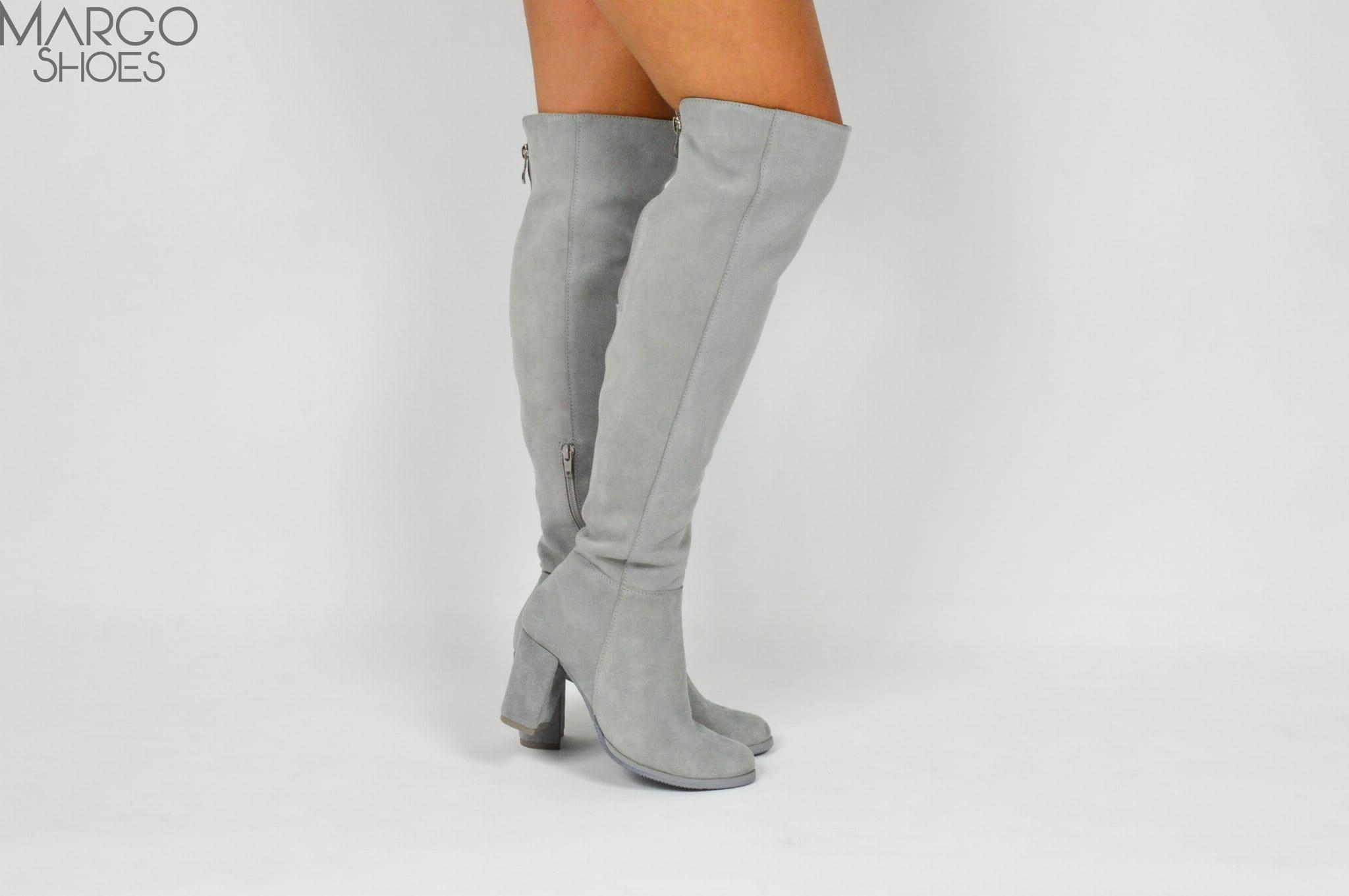 aff9492b57604 MargoShoes szare skórzane kozaki na obcasie słupku za kolano ...
