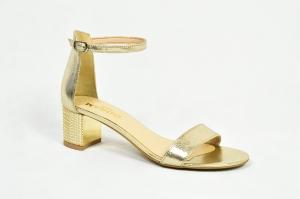 dc722dc0 MargoShoes skórzane złote sandałki na niskim obcasie klocku 4,5 cm zapinane  wokół kostki skóra
