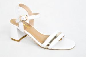 2d9dfae7 MargoShoes białe złote sandałki na niskim obcasie klocku zapinane wokół  kostki klamerka skóra naturalna niski obcas
