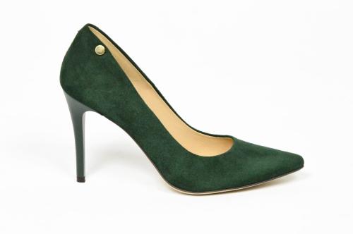 0810e386 MargoShoes zielone butelkowe oliwkowe szpilki czółenka zamszowe skóra w  szpic na obcasie szpilce